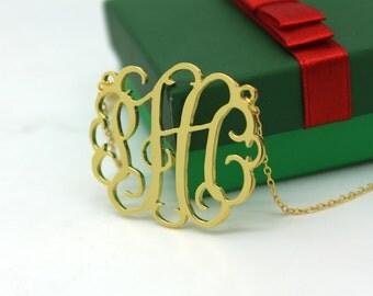 Monogram necklace - 1.25 inch Personalized Monogram, Gold Monogram necklace - 925 Sterling silver 18k Gold Plated