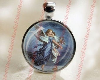 Guardian Angel - Christian Catholic SIlvertone Medal Pendant Charm Cabochon Religious Jewelry