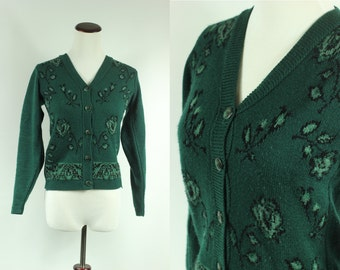 80s Forest Green Rose Knitted Sweater