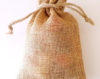 55PCS Small Vintage Natural Burlap Hessian Bomboniere Bags - 8cm*12cm