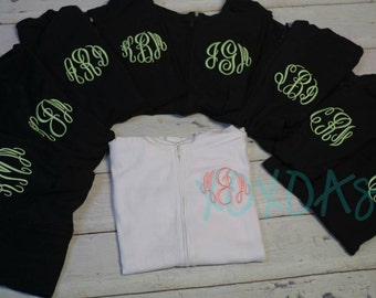 Custom Monogrammed Womens Light Weight Zip Jacket--Bridesmaid or Sorority Gift-- Customized with several color options