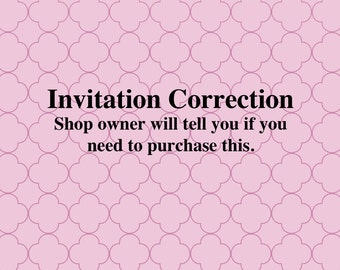 Invitation Correction
