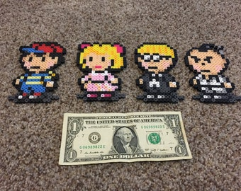 Earthbound Ness, Paula, Jeff, Poo perler magnets. Very high quality. All 4 characters!