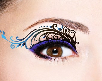 Eye Temporary Tattoo Makeup Tattoo; Transfer Eye Tattoo, Eyelids Temporary Tattoo, Black Lace Tattoo, Party Prom Festival Halloween, Bride