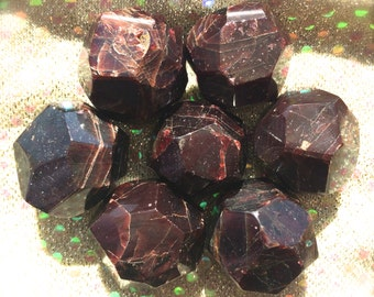 Almandine Garnet Faceted, Polished Premium Quality, Root Chakra, Pagan Altar, Reiki, Crystal Grid, Meditation!