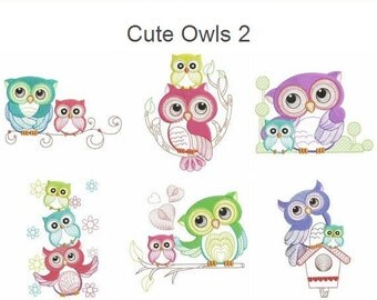 Cute Owls 2 Baby Mother Machine Embroidery Designs Instant Download 4x4 5x5 6x6 hoop 10 designs APE2061
