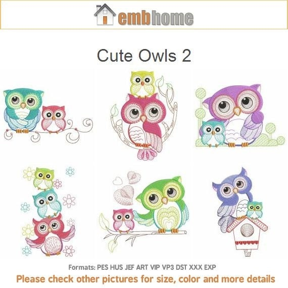Cute Owls 2 Baby Mother Machine Embroidery Designs Instant