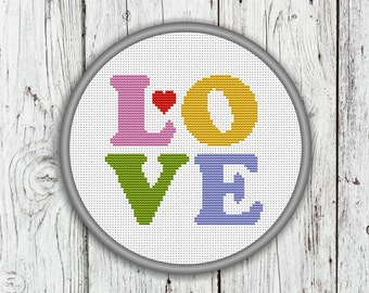 Love Letters and Heart Counted Cross Stitch Pattern - PDF, Instant Download