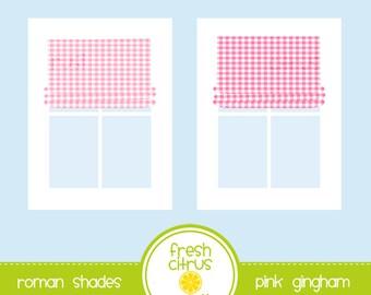 Window Clip Art Roman Shades Pink Gingham
