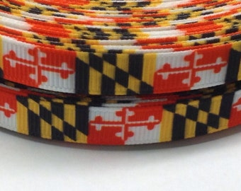4 Yards of 3/8 Maryland Flag grosgrain ribbon