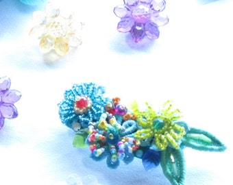 Adult Barrettes,Handmade Womens Hair Accessories,Floral Hair Accessory,Beaded Barrette,Boho Barrette ,Hair Jewelry,beaded floral barrette,