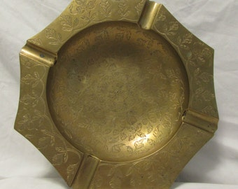Vintage Solid Brass Ashtray, Beautifully Etched
