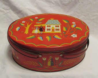 Picnic Tin, Amish/Dutch Pattern, Red, Oval, Double Handle, 1950's