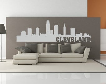 Cleveland Ohio City Skyline Interior Wall Decal WITH Lettering
