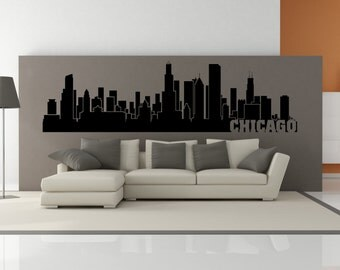 PREMIUM Chicago Illinois City Skyline Interior Wall Decal WITH Lettering