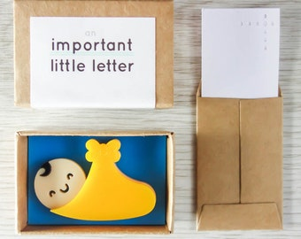 An important little letter: bundle of joy / new baby mini matchbox