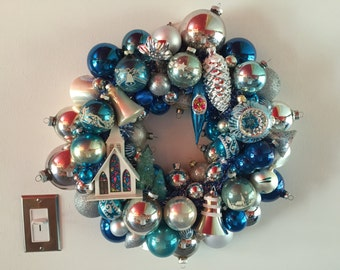 Vintage Christmas Ornament Wreath Blue & Silver with Alpine Village Church - Shiny Brite