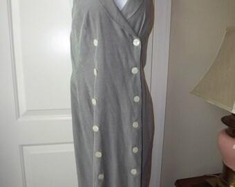 Pinstriped Double Breasted Nautical Wiggle Sheath Dress