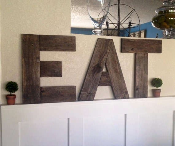 Reclaimed wood pallet kitchen eat letters sign wall decor for Kitchen letters decoration