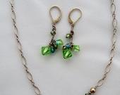 Peridot Crystal / Silver Necklace Set