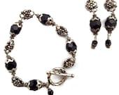 7 1/4 inch Sterling Silver / Black Swarovski Crystal Bracelet and Earring Set