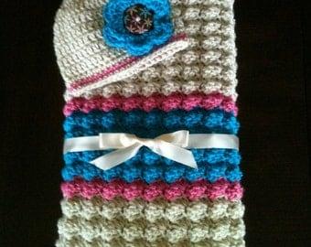 Baby Blanket - Crochet Baby Blanket and Hat - Baby Girl Blanket - Baby Shower Gift - Handmade Baby Blanket and Hat - Pink Baby Blanket