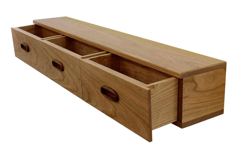 3 Drawer Floating Shelf Solid Cherry Wood Inset Teak