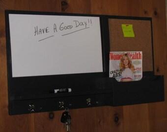 ON SALE Mail Organizer Message Center Cork Board Organizer White Board Mail Holder
