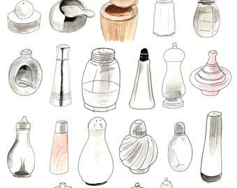 Salt Cellars A4 Print