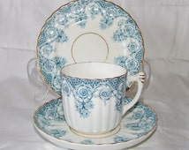 Art Deco Vintage  Antique Blue Fluted   Tea Trio  from  1891 (Rd Nr173062)  Made In England