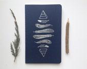 Letterpressed Moleskine Journal - Feathers & Pyramids Pattern