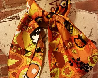 60's Acetate Scarf Fall Floral Mod