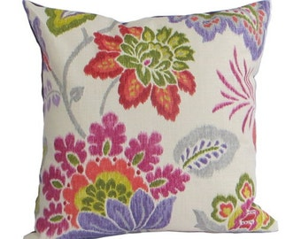 """Kravet """"Cavello"""" Fabric pillow, floral purple, red, periwinkle green, rose"""