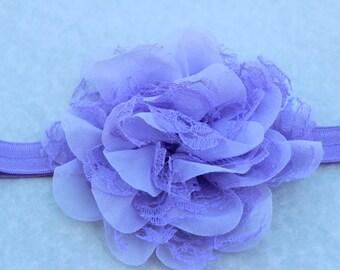 Lavender headband flower girl headband lavender girls headband baby toddler headband newborn headband Infant headband lace headband