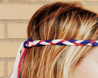 Personalized headband,Flag headband, Hippie hair accessory,Braided headband,Football girlfriend gift,Soccer team gift,Slovenia,Slovakia