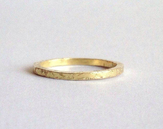 Gold Ring - Distressed Raw Texture - 9 or 18 Carat  - Thin Ring - Wedding Band - Men's Women's - Unisex -