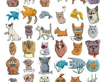 100+100 Vector Clip Art  Images Of Pets, Dogs, Cats and Fish