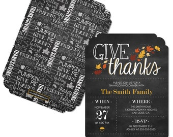 Give Thanks Invitations - Personalized Thanksgiving Party Invites- Set of 12