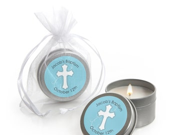 Little Miracle Boy Blue and Gray Cross Candle Tin Baptism Party Favors - 12 Count