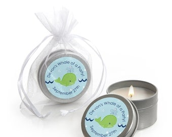 Tale Of A Whale Candle Tin Baby Shower or Birthday Party Favors - 12 Count