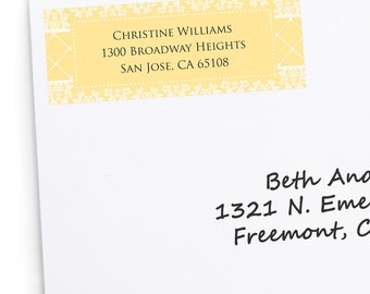 Damask Yellow Address Labels - Personalized Return Address Stickers - Bridal Shower Party Supplies 30 Count