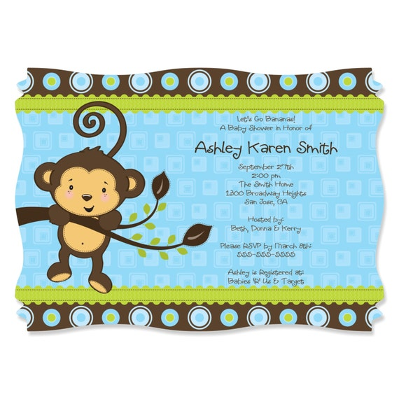 monkey boy party invitations printed baby shower party supplies