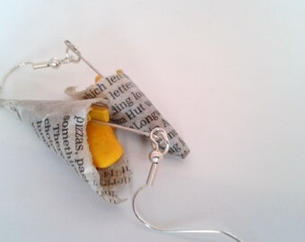 Fish and Chips in Newspaper Drop Earrings