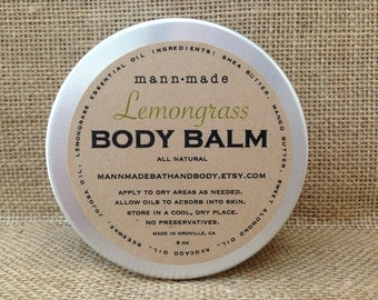 Lemongrass Body Balm - made with Shea & Mango Butter, All Natural, 8oz