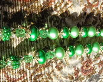 Vintage Green Bead Necklace, Shabby Chic