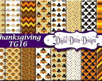 Thanksgiving Digital Scrapbooking  Paper Set - Instant Download