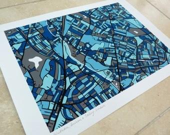 Wimbledon, Balham & Tooting, London Art Map - Limited Edition Contemporary Giclée Print