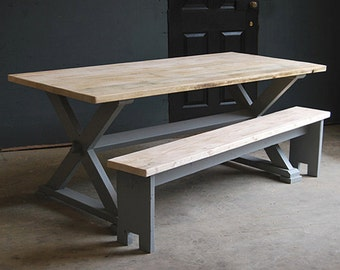 Vintage Kitchen/Dining X Frame Table made from Reclaimed Timber