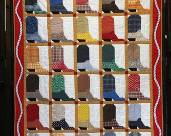 Price Reduced:  Cowboy Boots  Quilt or Wall Hanging  -  Southwest Theme