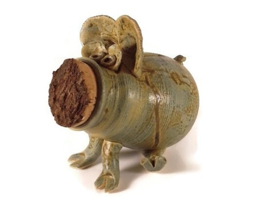Piggy bank handmade piggy bank ceramic by nanashousepottery for Handmade coin bank